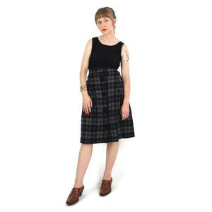 50s Mod Grey Check High Rise Below-the-Knee Skirt